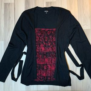 Apt 9 Black Sweater with Ruffle camisole look